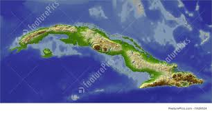 Map Cuba Signs And Info 3d Relief Map Of Cuba Stock Illustration