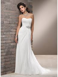 ivory wedding dress sheath column strapless court ivory chiffon wedding