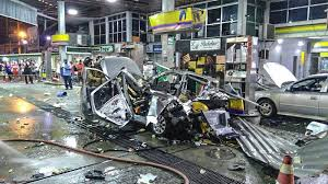 shocking moment car explodes at petrol station while being filled