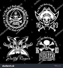 pirate bay pirates emblem set pirate spirit flying stock vector 612410783