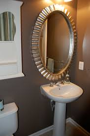 Bathroom Powder Room Bathroom Classy Silver Wall Mounted Circle Mirror With White