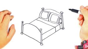 How To Draw A Bed How To Draw A Bed Step By Step Bed Drawing Lesson Youtube