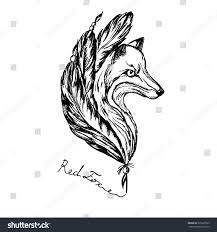 fox head logo feathers painted retro stock vector 335327093