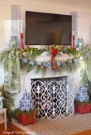 christmas mantel christmas mantel with pine cone trees cottage at the crossroads