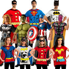 superhero t shirt adults fancy dress comic book mens ladies