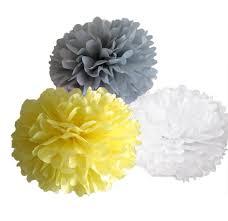 amazon com umissdecor yellow grey white tissue paper pompoms