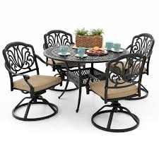 Round Table Patio Dining Sets - amazon com rosedown 4 person cast aluminum patio dining set with