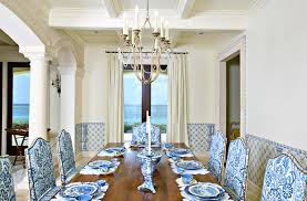 Dazzling Stoneware Dinnerware Sets In Dining Room Tropical With - Blue and white dining room