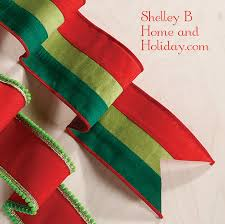 striped red and green wired christmas ribbon shelley b home and
