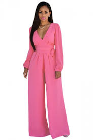 pink jumpsuit womens womens v neck sleeve lace up palazzo jumpsuit pink