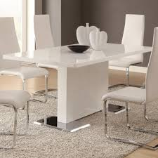 chrome dining room sets coaster modern dining white dining table with chrome metal base