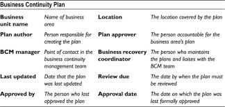 appendix h basic business continuity plan template disaster