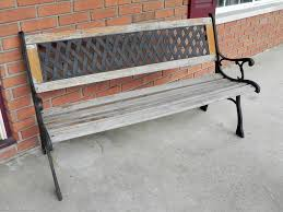 wrought iron bench with wood slats bench decoration