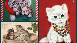 vintage new year cards with cats and kittens meowy
