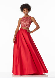 two piece prom dress with a line satin skirt style 99018 morilee