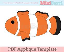 fish clown fish applique template pdf from mixiberri on etsy studio