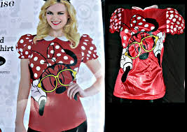 Buy Glam Red Minnie Costume by New Limited Disney Minnie Mouse Puff Sleeve Top Shirt