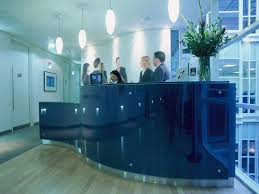 Glass Reception Desk Intaglio Glass Reception Desks