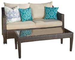 aspen outdoor wicker loveseat and table with water resistant