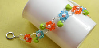 beaded bracelet glass pearl images Diy colorful flower beaded bracelet with heart beads collections jpg