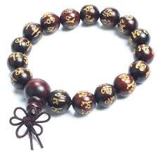 beaded rose bracelet images Rose wood engraved buddhist prayer beads bracelet small details jpg