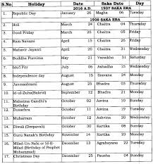 holidays to be observed in central government offices during the