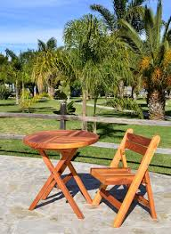 Round Redwood Picnic Table by Folding Wooden Table Chairs No Assembly Needed