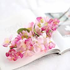 10 pcs artificial plants plastic fake flowers silk cherry blossom