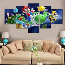 Super Mario Bedroom Decor Best 5 Panel Wall Art Cartoon Group Oil Painting Super Mario