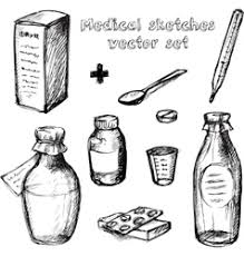 health care and medicine drawings sketches vector image