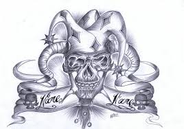 best grey ink jester tattoos design