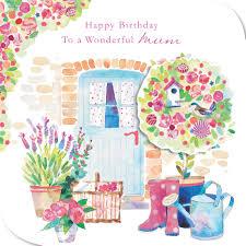 mum birthday card hand finished garden design size 6 25 x 6 25 jj0680