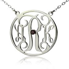 Initial Monogram Necklace Silver Circle Initial Monogram Necklace With Birthstone