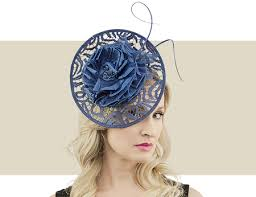 lace fascinator navy blue lace disc fascinator hat with quill flower detail