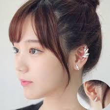 clip on stud earrings 3pcs wings leaf clear ear clip cuff stud earrings us