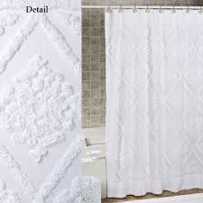 White Shower Curtains White Cotton Chenille Shower Curtain