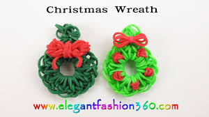 easy rainbow loom holiday christmas wreath charm hook how to
