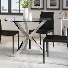 Glass Dining Room Sets by Glass Kitchen Dining Tables You Ll Wayfair