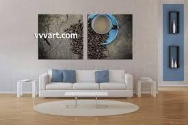 2 piece brown canvas kitchen coffee wall art
