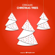 origami christmas trees vector free download