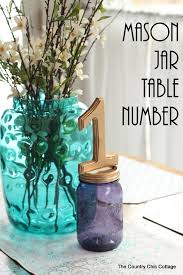 Mason Jar Vases For Wedding Mason Jar Table Number For Weddings The Country Chic Cottage