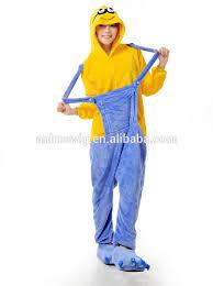 Minion Halloween Costume Adults Wholesale Kartoon Sleepwear Flannel Unisex Minion Animal