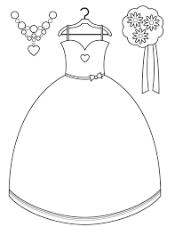 printable coloring pages wedding bridesmaid dress and accessories free printable coloring pages