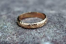 14k gold flower pattern band floral stack ring floral ring
