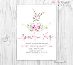 rabbit invitation bunny baby shower girl invitation floral bunny baby
