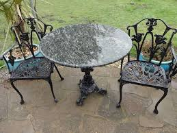 cast iron outdoor table cast iron garden table with marble top 2 chairs in chelmsford
