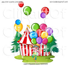 clowns balloons clipart of a circus clown with balloons at a big top royalty free
