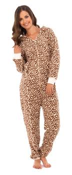 cheetah jumpsuit womens length fleece onesie hooded zip all in one jumpsuit