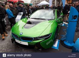 Bmw I8 Green - bmw i8 plug in hybrid sports car on display in the low emission