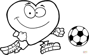 healthy red heart with a soccer ball coloring page free